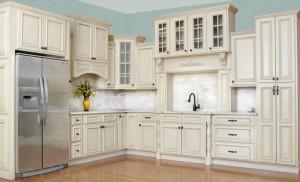Antique White Kitchen Cabinet Display