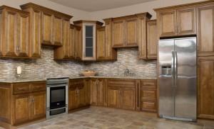 Charleston Coffee Glaze Kitchen Cabinet Display