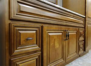Charleston Coffee Glaze Bathroom Vanity and Linen Cabinet