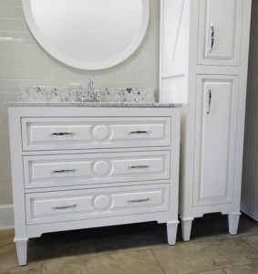 Mary Furniture Vanity, Mirror, and Linen Cabinet