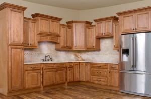 Savannah Sienna Glaze Kitchen Cabinet Display