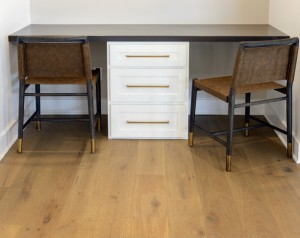 Shaker White Cabinets as Hall Desk