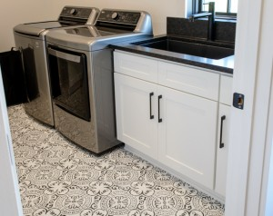 Shaker White Cabinets in Laundry Room