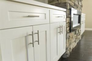Shaker White Cabinets in Living Room